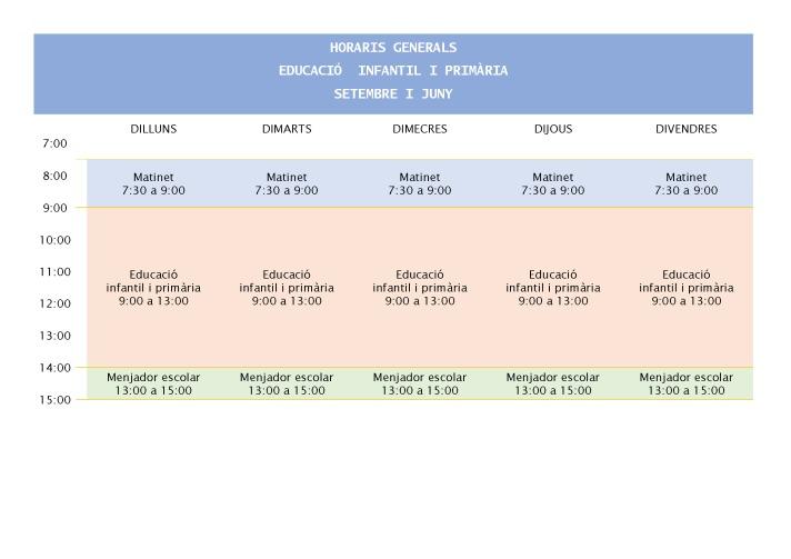 Horari infantil i primària. setembre i juny