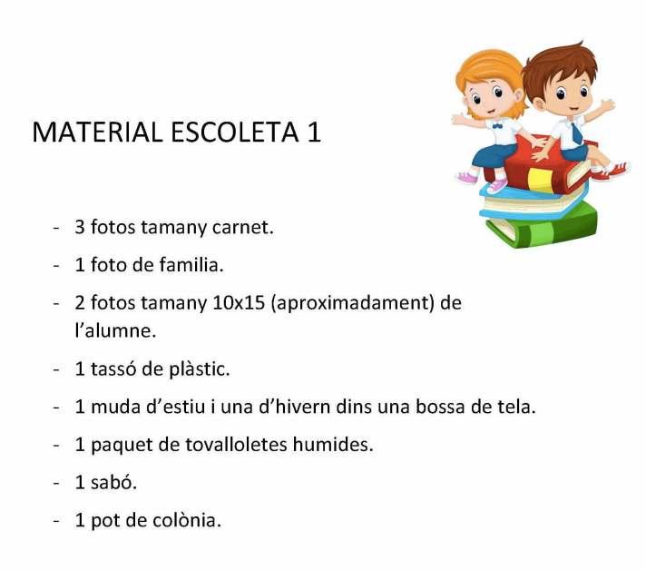 Material escoleta 0-1 anys