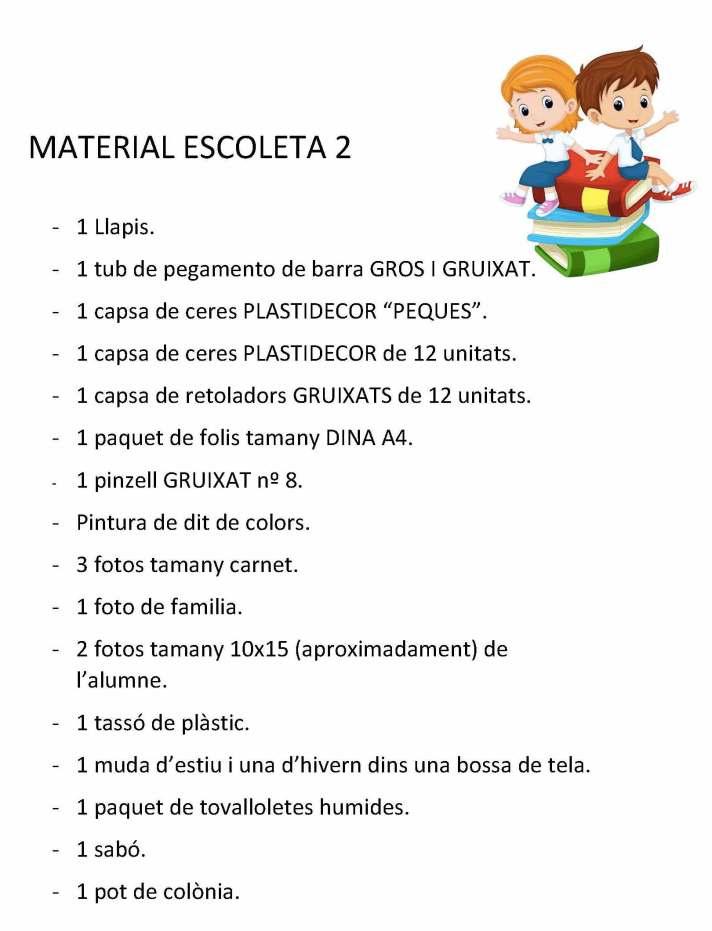 Material escoleta 2-3 anys